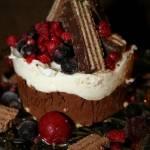 Deser czekoladowo wafelkowy z pana cottą i owocami