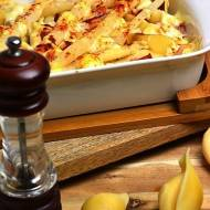 Zapiekane muszle z wędzonym kurczakiem, szparagami, w sosie z kozim serem