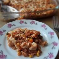Zapiekane risotto z kurczakiem i warzywami