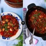 Zupa gulaszowa z wołowiną, czerwoną papryką, batatami i fasolą