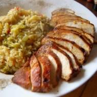 Risotto brokułowe z mahoniowym kurczakiem
