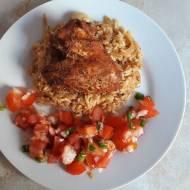 Skrzydełka kurczaka pieczone na ryżu