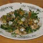 Kaszotto z porem, cukinią, indykiem i gorgonzolą