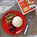 Kurczak w ziołach i sezamie z ryżem paraboiled