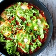 Dziki ryż z salsą pomidorową i kaczymi jajkami
