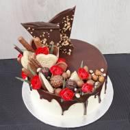 Tort czekoladowo -orzechowy w stylu Drip Cake