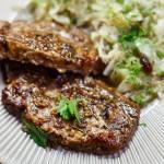 Schab inaczej – pieczone kotlety z musztardą francuską, ziołami i octem balsamicznym