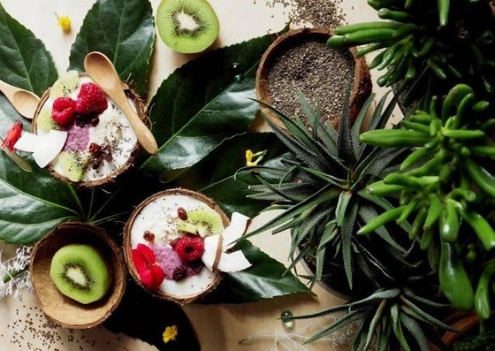 Dwa zdrowe puddingi w kokosowych miseczkach