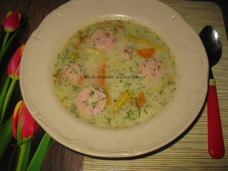 Zupa z fasolki szparagowej, marchewki ,ryżu z kiełbaską