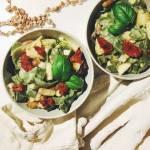Makaron z grogonzolą, gruszką i orzechami włoskimi
