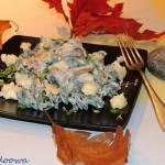 Fusilli z algami w sosie serowym z kurkami