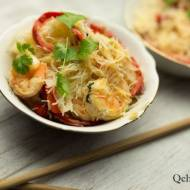 Makaron ryżowy z krewetkami