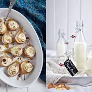 Pieczone gruszki nadziane deserowym serkiem migdałowym + domowe mleko migdałowe
