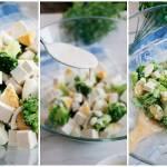 Sałatka brokułowa z jajkami i tofu
