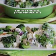 Sałatka z brokułem, piersią kurczaka i fetą
