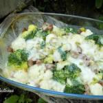 Zapiekanka brokułowo-kalafiorowa pod beszamelem