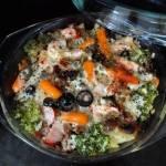 Zapiekanka ziemniaczana z kiełbasą i warzywami (bez glutenu, jajek)
