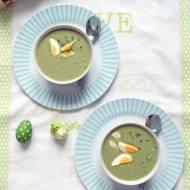 Alternatywa dla wielkanocnego żurku – krem szpinakowo – czosnkowy z jajkiem i rzeżuchą