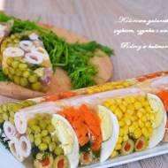 ,,Kolorowa galaretka z jajkiem, szynką i warzywami''
