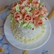 Mini torcik z kwiatami z kremu