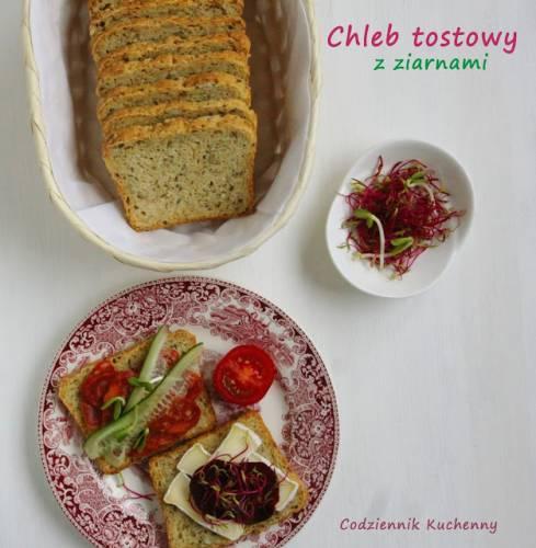 Chleb tostowy z ziarnami i nasionami chia.
