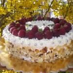 TORT- CZEKOLADOWY BISZKOPT Z KREMEM ŚMIETANOWYM I MALINAMI