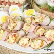 ruloniki z szynki nadziewane pastą jajeczno chrzanową