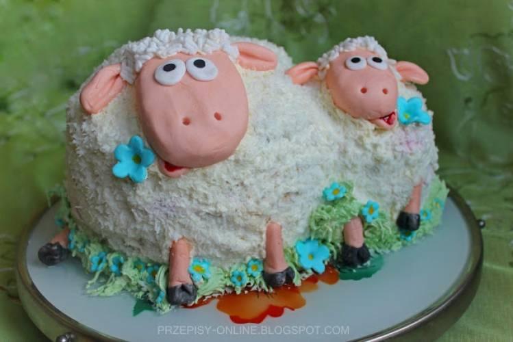 Baranki - tort śmietankowy z wiórkami kokosowymi