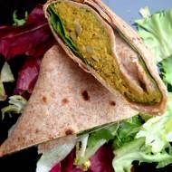 Tortille pełnoziarniste z pikantnym farszem z cieciorki, dobry pomysł na lunch do pracy.