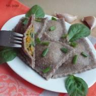 Żytnie pełnoziarniste ravioli z batatem i szpinakiem