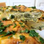 Pieczona frittata z topinamburem i szpinakiem (Frittata con topinambur e spinaci al forno)