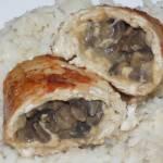 Roladki ze schabu z pieczarkami i serem