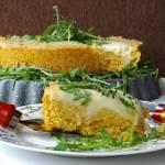 Ciasto z kaszy jaglanej, batata, selera naciowego, pod kołderką z mozzarelli, na ostro z nutą słodyczy