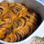 słodkie ziemniaki zapiekane z suszonymi śliwkami, gratin