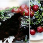 Czekoladowiec z winogronem, rzeżuchą i orzechami włoskimi (bez mleka i bez jajek)