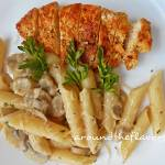 Kurczak z penne w sosie pieczarkowym