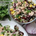 Sałatka z kuskusem, tuńczykiem, czerwoną fasolką i kukurydzą