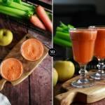 Koktajl z marchewki, jabłka, selera naciowego i grejpfruta