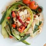 Tagiatelle z cukinii w sosie pomidorowo-paprykowym post dr. Dąbrowska