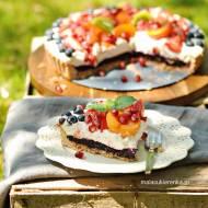 Ciasto z musem owocowym i kremem jogurtowym, bez glutenu, bez cukru