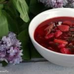 Barszcz czerwony z botwiną i ziemniakami