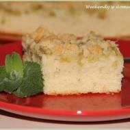 Szybkie ciasto orkiszowe z rabarbarem i kruszonką