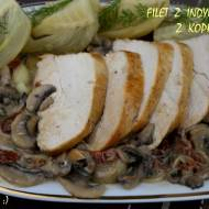 Filet z indyka z koprem włoskim, podany z pieczarkami i sosem z suszonych pomidorów
