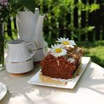 Ciasto marchewkowo-zbożowe z polewą czekoladową oraz Inką.