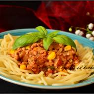 Spaghetti z kukurydzą