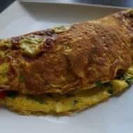 Omlet z szynką konserwową i pieczarkami marynowanymi