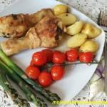 Kurczak pieczony z wiosennymi warzywami