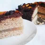 Wegański TORT CYTRYNOWO-CZEKOLADOWY z brzoskwiniami