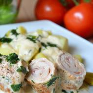 Roladki schabowe z szynką i serem w sosie śmietanowo-musztardowym