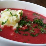 Barszcz czerwony zabielany z ziemniakami puree
